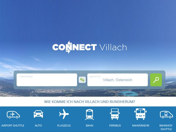 Screenshot der Website connect:villach mit dem Logo.